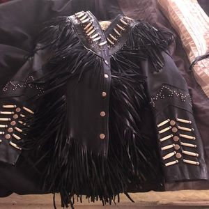 Leather jacket with fringe, perfect condition